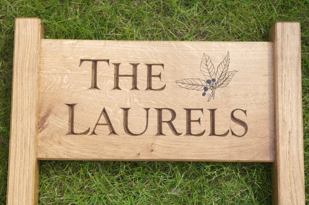 The Laurels House Sign J Leaf Wood Carvings
