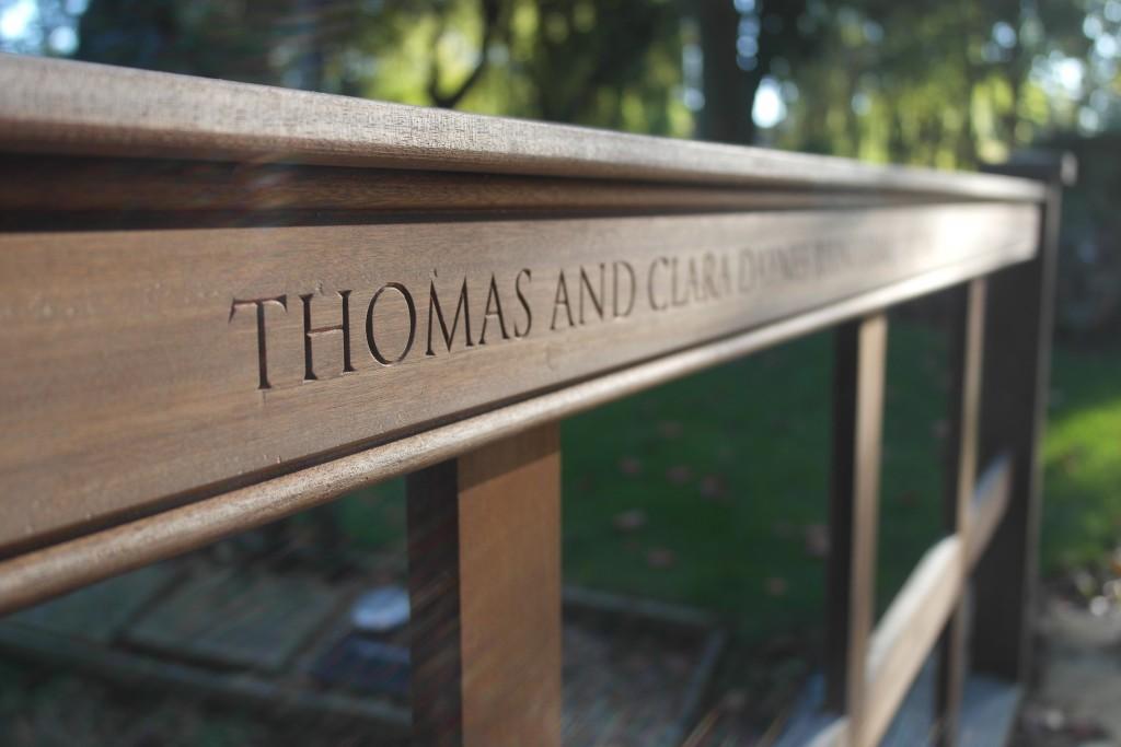 Lettering carved in memorial bridge.