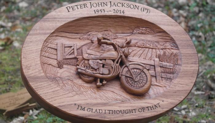 Wooden memorials j leaf wood carvings